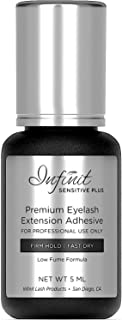 SENSITIVE FAST DRYING Eyelash Extension Glue - Infinit Sensitive Plus Lash Glue for Individual Eyelashes (5 ML)   4-5 Sec Dry Time   Retention - 6 Weeks   Low Fume Lash Glue   Professional Use Only