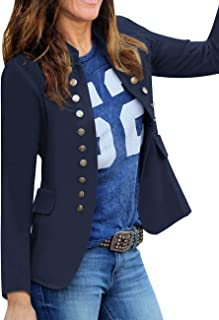 luvamia Women`s Open Front Long Sleeves Work Blazer Casual Buttons Jacket Suit