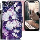 CLM-Tech Hülle kompatibel mit Motorola Moto G7 Play - Tasche aus Kunstleder - Klapphülle mit Ständer & Kartenfächern, großer Schmetterling schwarz lila