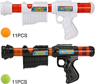 FUNEW Power Popper Gun, Atomic Ball Guns Pump Action Blaster with Green & Orange Soft Foam Balls, Best Gift for Kids - Dual Battle Pack