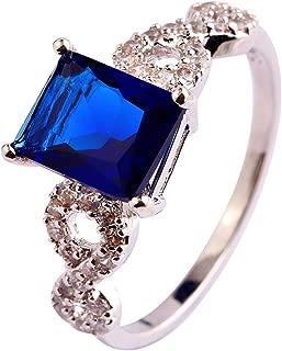 Narica Womens Novelty Sapphire Quartz Princess Cut Puzzle Cocktail Ring