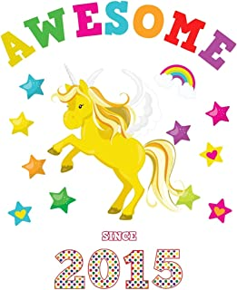 Awesome Since 2015: Unicorn Cursive Hand Writing Calligraphy Notebook Paper | White Cover for Girls Born this Year | Kids Practice Alphabet Letters & ... Book for Children in Preschool K-1 K-2 K-3