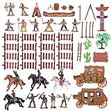 Toddmomy Juego de 43 figuras de animales salvajes y indios de plástico para niños...