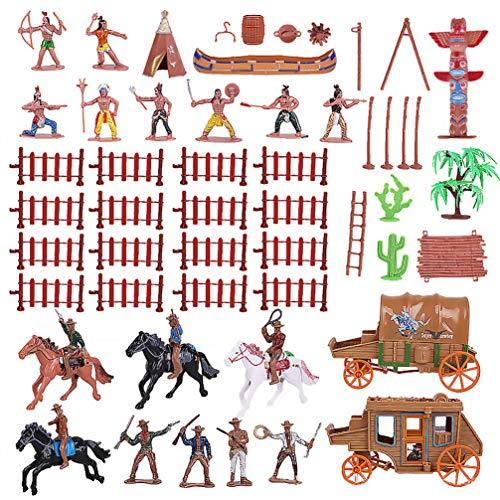 Tomaibaby 1 Set Plastik Indianer Und Cowboy Figuren mit Pferdezelt Totem Wild West Cowboy Miniatur Kit Ideal für Kinder Kinder Als Schulprojekt