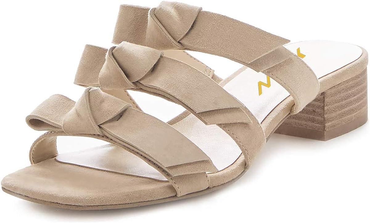 YDN Women Adorable Open Toe Low Heel Slide Sandals Slip on Clogs Mules Block Comfy Sandals Dress Shoes