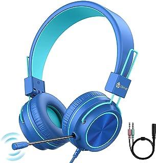子供用ヘッドホン iClever 有線 調整可能なマイク付き 子供用 青少年適用 音量制限94dB 3.5mmオーディオジャック ステレオサウンド スマートホン ゲーム機 PCなど適用 折りたたみ式収納 ブルー HS21