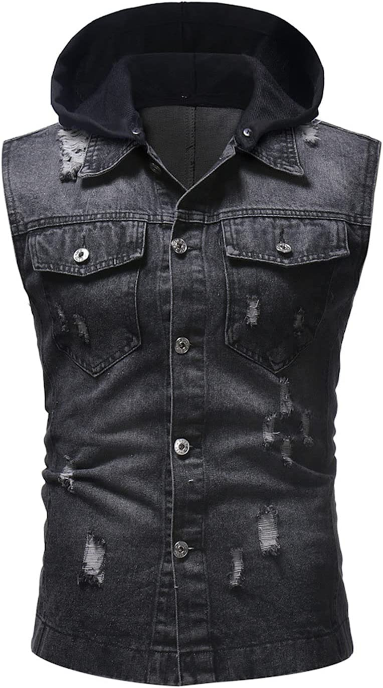 Men's Trend Ripped Holes Denim Sleeveless Jacket Tank with Hood Casual Jeans Vest with Hoodie Distressed Jean Short Sleeves (Black,XX-Large)