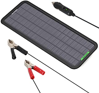 ALLPOWERS 18V 5 Watts Portable Solar Panel Solar Car Battery Charger Backup for Car Boat Batteries, Solar trickle Charger Bundle with Cigarette Lighter Plug, Battery Clamps & Suction Cups