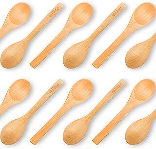 HansGo Small Wooden Spoons, 12PCS Small Soup Spoons Serving Spoons Wooden Teaspoon for Coffee Tea Jam Bath Salts