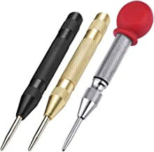 AFUNTA 3 Pcs Automatic Center Punch Tool, 5 inch Brass Spring Loaded Crushing Hand Tool with Cushion Cap and Adjustable Im...