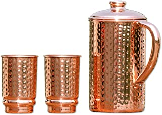 HealthGoodsIn - Pure Copper (99.74%) Hammered Water Jug with 2 Hammered Copper Tumblers   Copper Pitcher and Tumblers for Ayurveda Health Benefits