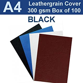 New A4 Leathergrain Binding Covers/Backing 300gsm - Black (PK 100)