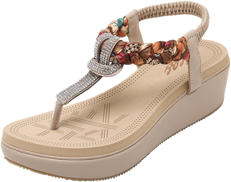 Zicac Women's Bohemian Platform Sandals Rhinestone Bead Wedge shoes Thong Sandal
