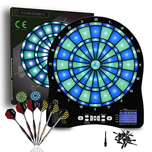 Electronic Dart Board,Illuminated Segments Light Based Games Electric Dartboard for Adults Tested Tough Segment for Enhanced Durability Professional with Scoring,6 Soft Plastic Tip Darts
