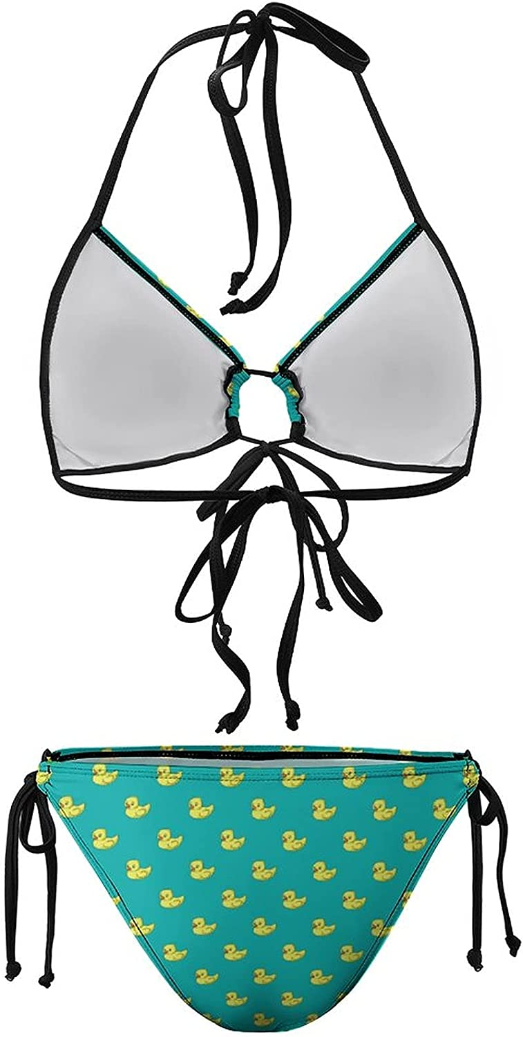 SWEET TANG Women Fashion Sexy Summer Beach Swimsuits Two Piece, Cute Funny Rubber Duck Yellow Ducky Turquoise Green (1) Halter Top with Triangle Bottoms Bikini Sets for Beaches Fitness, Indooor Pool
