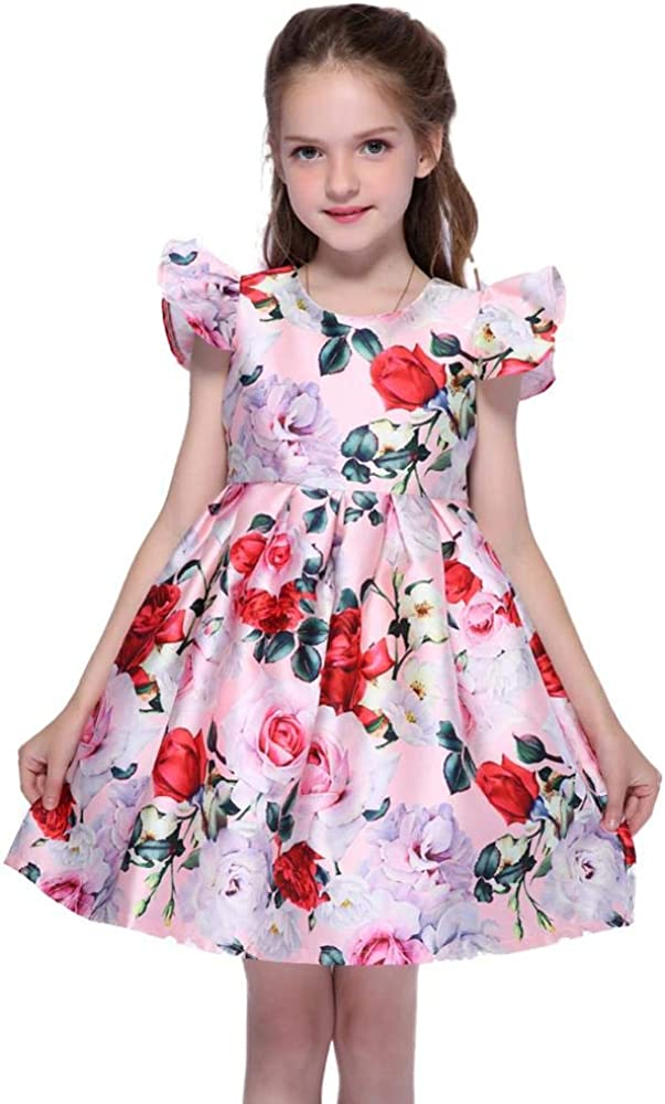 Girls Dresses Red Pink White Blue Sleeveless Summer Spring Fall Party Cotton Clothes for 2-12 Years Kids