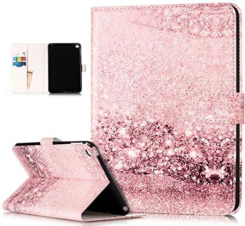 Coque iPad Mini 4,Etui iPad Mini 4,ikasus Marbre Fleur coloré peint Etui Housse Cuir PU Portefeuille Protection supporter Folio Flip Case Etui Housse Coque pour 7.9 iPad Mini 4 Etui Case,Or rose