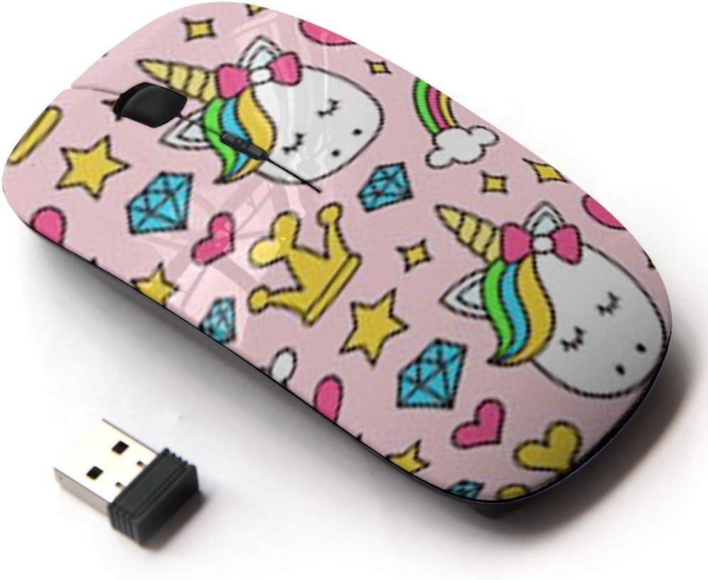 Ergonomic Optical 2.4G Wireless Mouse - Cute Unicorn Princess Girl