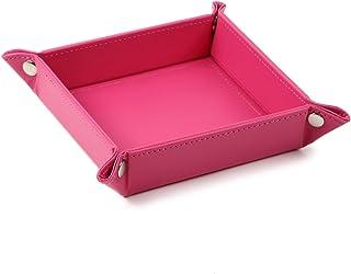 THE ANSWER ボタン トレー 小物入れ アクセサリー リモコン 時計 鍵 収納ボックス 箱 卓上 玄関 トレイ デスク 折りたたみ おしゃれ ケースM(ピンク)