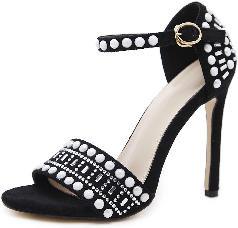 Lielisks High Heel Sandals Rhinestone Open Toe Ankle Strap Stiletto Pumps shoes