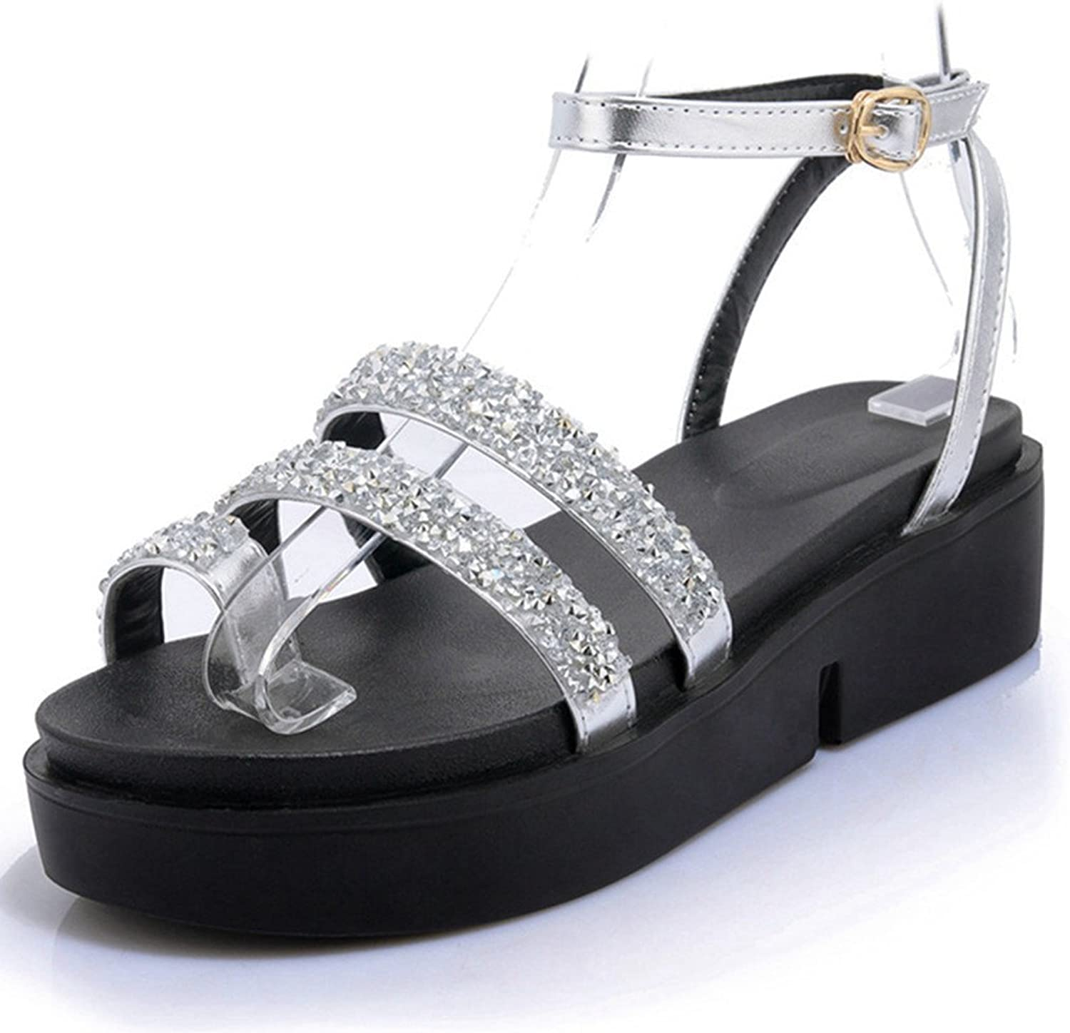 Platform Sandals for Women,Gladiator Rhinestone Ring Toe Wedges Buckle shoes
