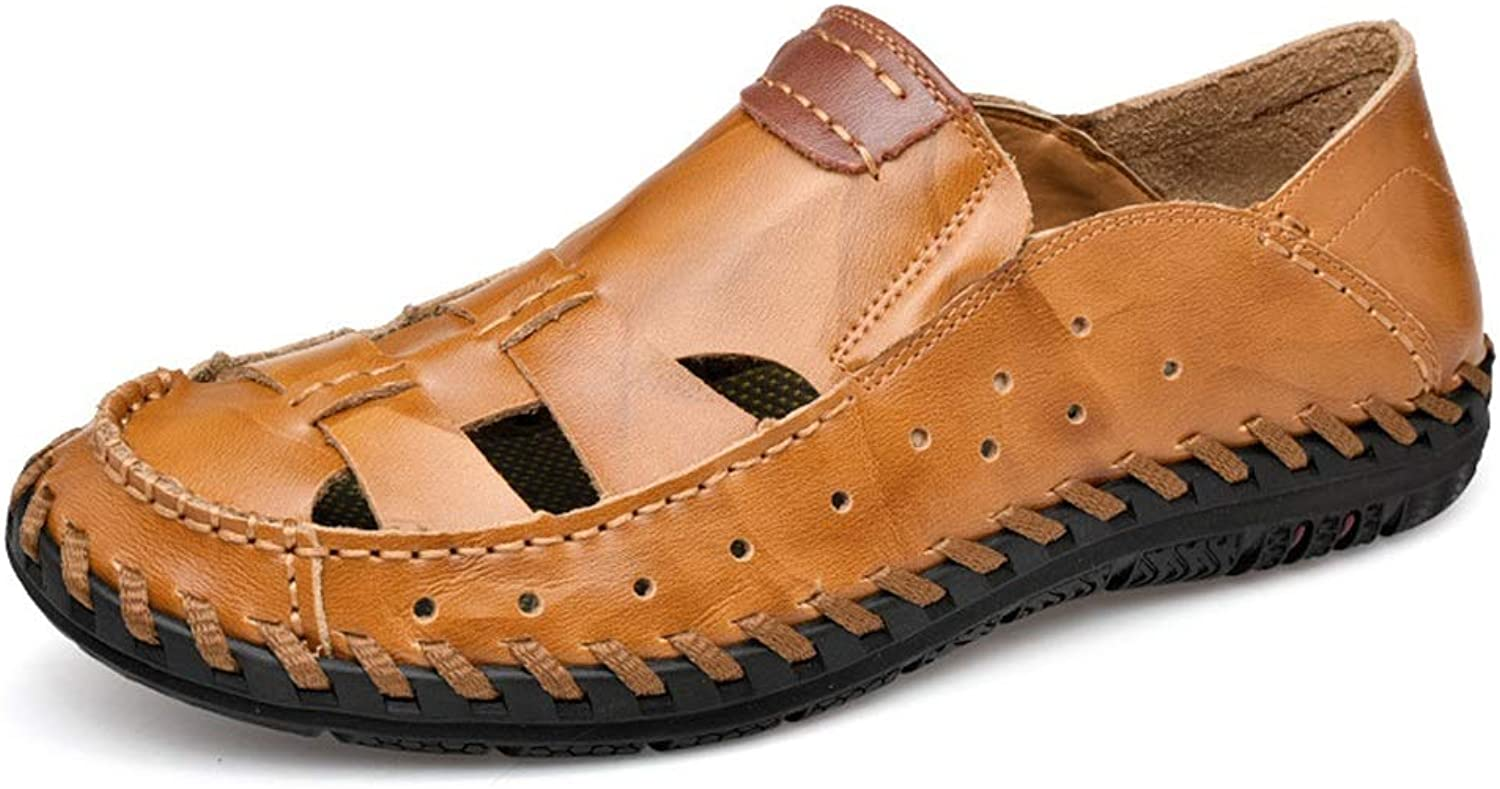 Sandals For Men Fisherman Breathable Casual Water shoes Walking Outdoor Beach Travel Stitch Slippers Leather Closed Toe Anti-Slip Cricket shoes (color   Yellowish Brown, Size   8.5 UK)