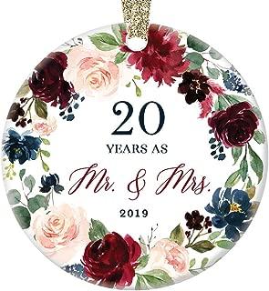 20th Wedding Anniversary 2019 Mr. & Mrs. Christmas Ornament Present Celebrate Twenty Years Married Couple Ceramic Tree Decoration Marriage Keepsake Gift Porcelain 3
