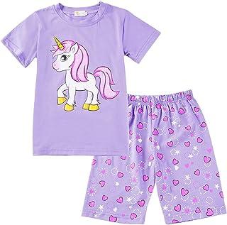 12cdedcb13f8b Ete Pyjama Licorne Enfant Ensemble Pyjama Manche Courte Haut et Short Fille  Deux Pièces Coton Vêtement