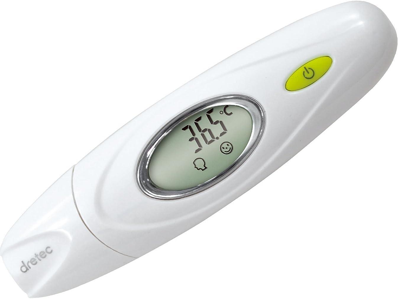 何か脚本家分類dretec(ドリテック) 体温計 赤外線 赤ちゃん お年寄り 検温時間2秒 おでこ 耳 TO-300WT (ホワイト)