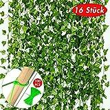VGOODALL 16 Stück Efeu Künstlich, 35 Meter Künstliche Hängepflanzen mit 100 Stück Nylon...