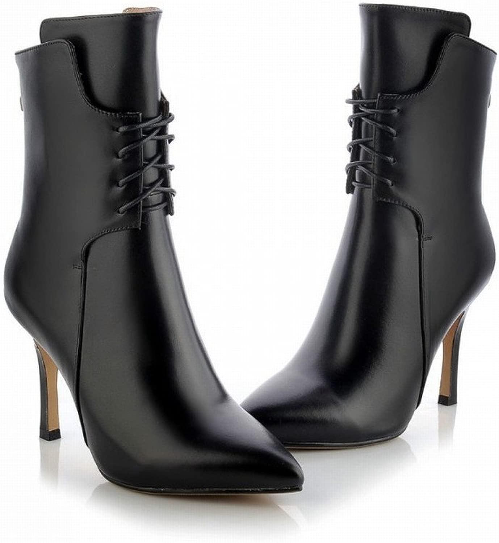DHG Stivali da Donna con Tacco Alto in Multa High-End con Sautope da Donna High-End Appuntite,Nero,38