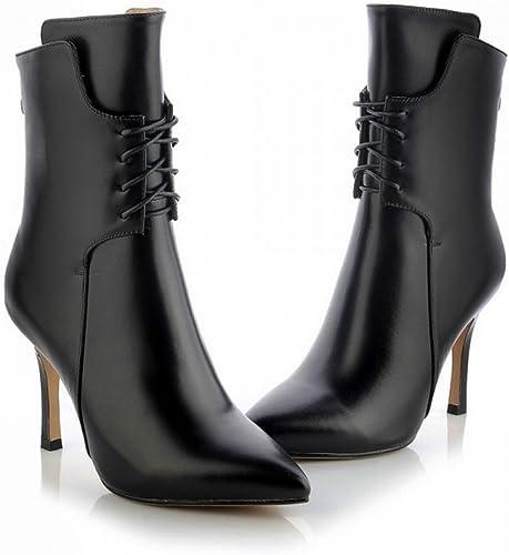 DHG Bottes de Femmes à Talons Hauts dans Le Haut de Gamme Très Bien avec des Chaussures de Femmes Pointues Haut de Gamme,Noir,36