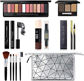 All in One Makeup Kit, Includes 12 Colors Eyeshadow Palette, 5PCS Brush Set, 3 Colors Eyebrow...