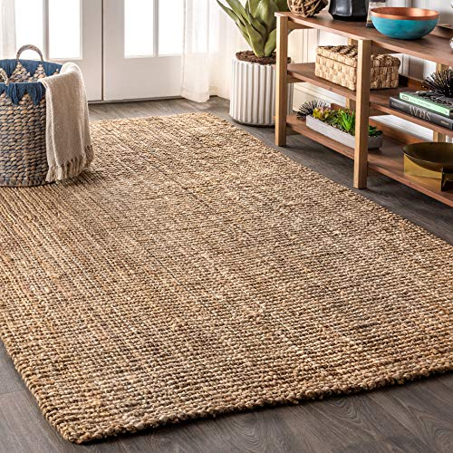 JONATHAN Y Pata Hand Woven Chunky Jute Natural 8 ft. x 10 ft. Area Rug, Bohemian, Easy Cleaning, For Bedroom, Kitchen, Living Room, Non Shedding
