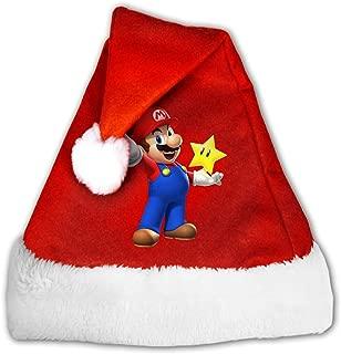 Super Mario Bros Games Unisex Santa Hat Comfort Headwear Fun Pom Cap For Christmas New Year Party S