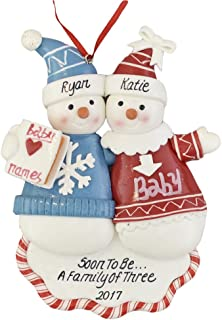 A Pregnant Couple Personalized Christmas Ornament - Calliope Designs - Soon to Be A Family of 3-2019 - 5