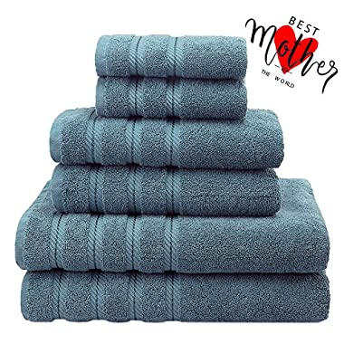 Premium, Luxury Hotel & Spa, 6 Piece Towel Set, Turkish Towels 100% Cotton for Maximum Softness and Absorbency by American Soft Linen, [Worth $72.95] (Colonial Blue)