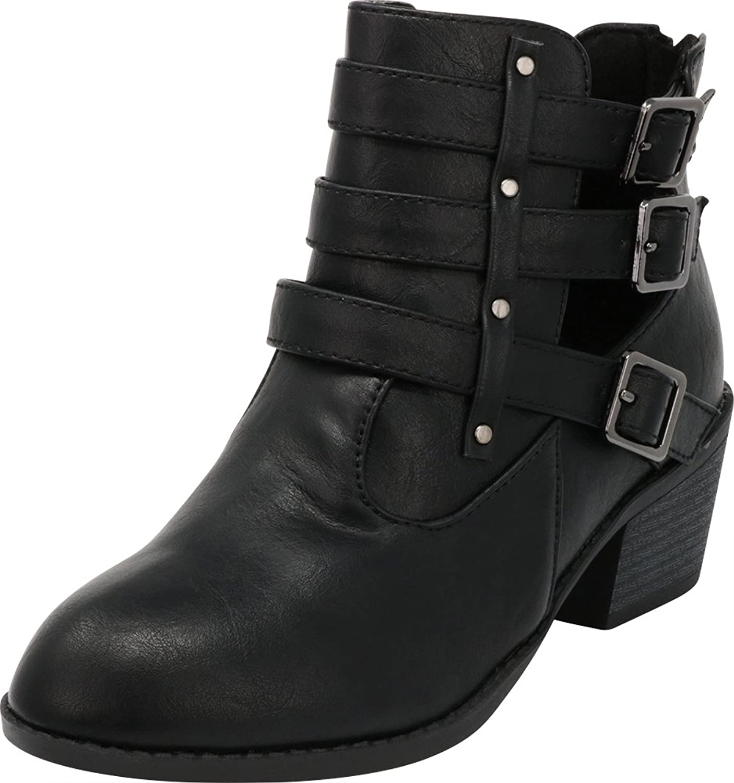 Cambridge Select Women's Western Triple Strap Buckle Side Cutout Chunky Stacked Block Heel Ankle Bootie