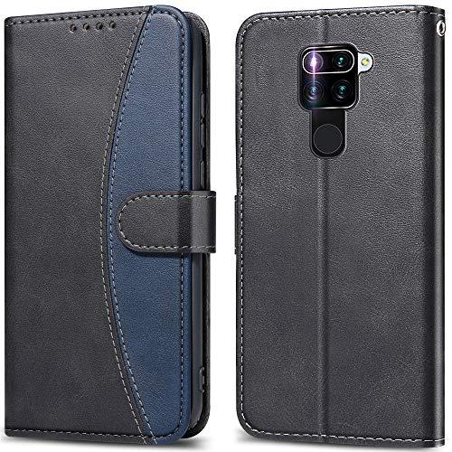 LEBE Handyhülle für Xiaomi Redmi Note 9 Hülle,Leder Flip Schutzhülle[Standfunktion] [Kartenfach] [Magnetverschluss] für Xiaomi Redmi Note 9 Tasche -Schwarz