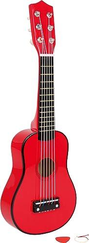 Small Foot 3306 Guitare, Rouge en Bois, Instrument de Musique pour Enfant, médiator Inclus, à partir de 3 Ans