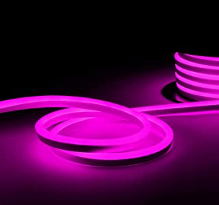 TORCHSTAR 50ft LED Neon Rope Light IP67 Waterproof, 120V Flexible Strip Lights, (150ft Max) Linkable Neon Light for Indoor & Outdoor Ambient Decoration, Commercial Building, Pink