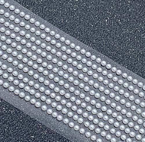 500 x Self Adhesive Flat Backed Pearls Gems 3mm- White Mini Pearlised Flat Backed Round Pearl Bead Stick On Adhesive Embellishment
