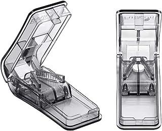Fullicon ピルカッター 携帯用 ステンレス鋼 どんなサイズでも対応 操作簡単 ビタミン剤や大きな薬でも簡単に切る 2個入 (グレー)