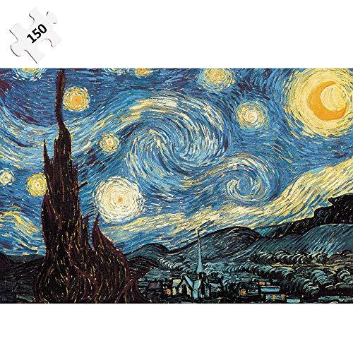 CXZC Rompecabezas de 150 Piezas para Adultos y niños, 15 x 10 cm, La Noche Estrellada de Vincent Van Gogh