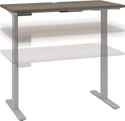 Bush Business Furniture Move 60 Series Height Adjustable Standing Desk, 48W x 24D, Modern Hickory with Cool Gray Metallic Base