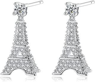 Godyce Heart Key Paris Eiffel Tower Dangle Earrings and Pendant Necklace Long Women Girl - Silver Tone Jewelry