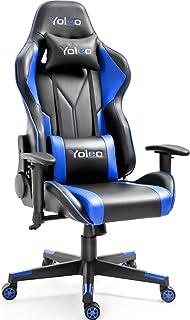 Yoleo ゲーミングチェア オフィスチェア ゲーム用チェア ミーティングチェア リクライニング 高さ調整できる 多機能 デスクチェア ハイバック ヘッドレスト 腰痛対策 ランバーサポート ひじ掛け付き ゲーミングチェア ブルー