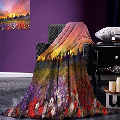 Luoiaax - Manta de Microfibra cálida para Todas Las Estaciones, diseño de Flores, Multicolor