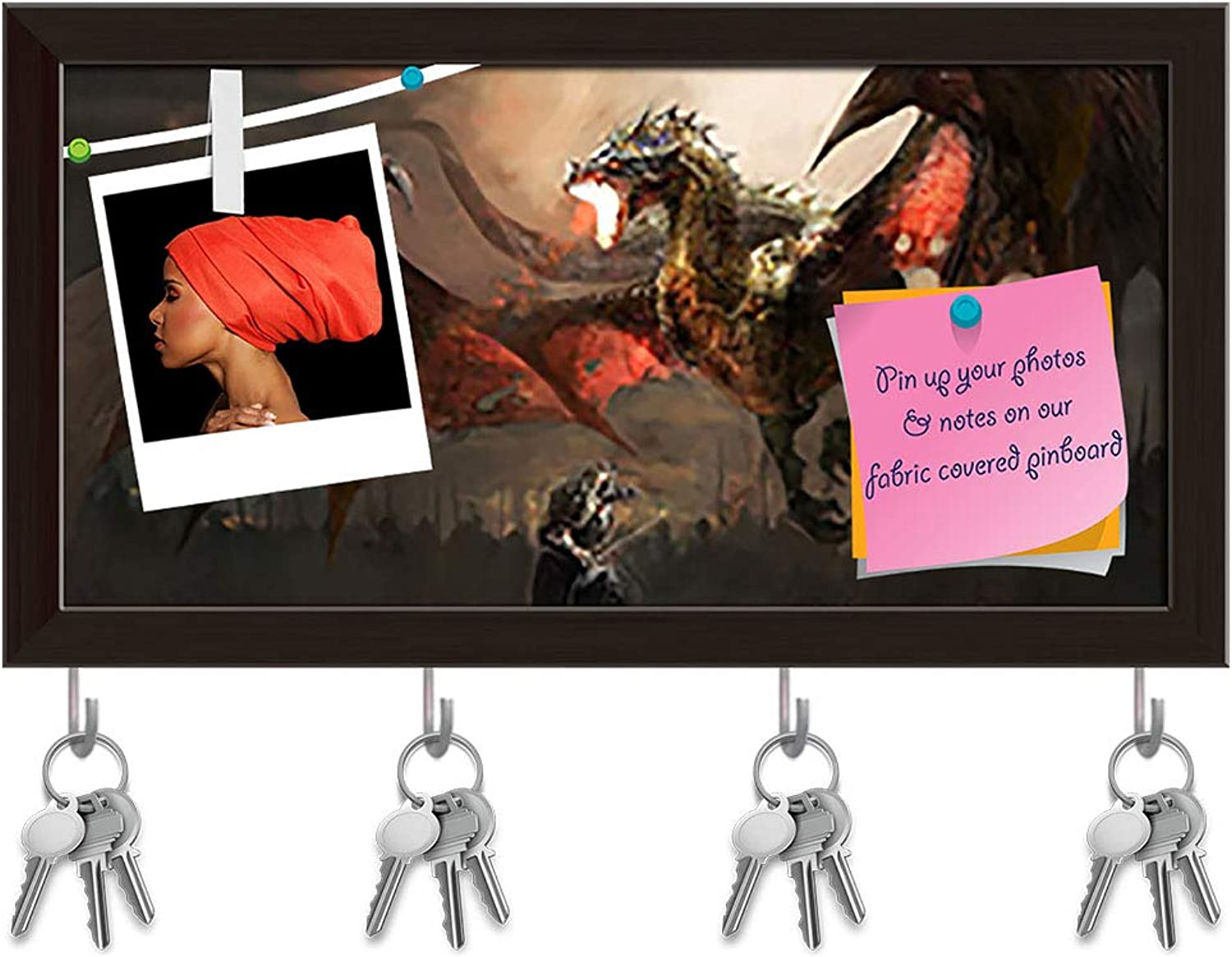 Artzfolio Knight Fighting Dragon D3 Key Holder Hooks   Notice Pin Board   Dark Brown Frame 19.3 X 10Inch