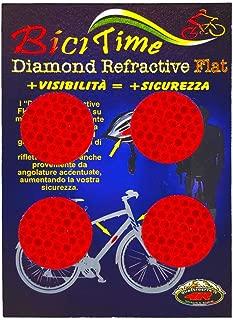 Quattroerre 3D Refractive Diamond Circles Stickers, Red, Set of 4